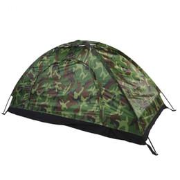 2019 pali di tenda All'ingrosso- Campeggio esterno escursionismo Tenda da una persona Camouflage protezione UV Tenda impermeabile con tende e pali della tenda pali di tenda economici