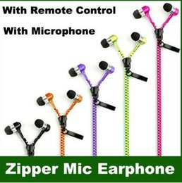 Wholesale zipper buds - Zip in-ear 3.5mm earphone with mic metal buds zipper headset headphone for MP3 iphone 6 plus Ipod Samsung htc with retail box