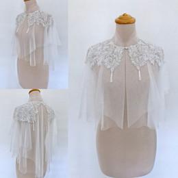 Wholesale Unique Shawls - Unique Bridal Wraps Modest Lace Applique Beaded High Neck Sheath Wedding Bridal Bolero For Wedding Dresses Sleeveless Custom Made Jacket