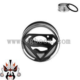 Wholesale Superman Ear Tunnels - Wholesale-superman ear gauge reamer piercing body jewelry stainless steel single flared ear tunnel piercing plugs earrings.