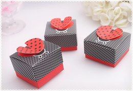 Wholesale Hot Chocolate Candy - HOT selling wedding Ladybug shape candy box,Wedding Boxes Gift box folding Candy box DIY chocolate boxes favor holders
