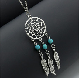 Wholesale Feather Necklaces - 4 styles Hot dream catcher statement necklaces sterling silver jewelry wings feather long pendant necklaces for women free shipping