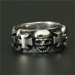 Wholesale Skull Indian - 1pc New Arrival Jesus Cross Skull Ring 316L Stainless Steel Man Boy Fashion Punk Ghost Skull Ring