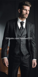 Wholesale Dark Gray Suit Mens - Hot Sale Slim Fit One Button Black Groom Tuxedos Notch Lapel Groomsmen Best Man Mens Wedding Suits (Jacket+Pants+Vest+Tie) G963
