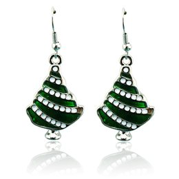 Wholesale Earring Paint - New Christmas Charms Earrings Fashion Silver Plated Dangle Painting Christams Tree Statement Earrings For Women Jewelry