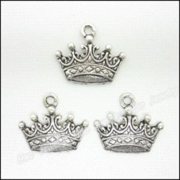 Wholesale Silver Imperial Crown - 80 pcs Vintage Charms Imperial crown Pendant Antique silver Fit Bracelets Necklace DIY Metal Jewelry Making