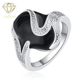 Wholesale Black Stone Jewellery - Antique Jewellery Classic Silver Plated with Black Stone Finger Ring Fashion Jewelry for Anniversary or Gifts