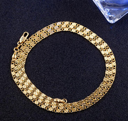 Wholesale Copper Shine - 2018 hot sale 2mm 18K gold plated Shining flat chain pendant necklace chain Clavicle chain 16inch-24inch For Pendants