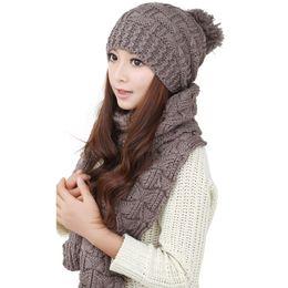 Wholesale Korean Winter Gloves - Wholesale-Free Shipping Knitting Scraf Hat 2015 Korean Fashion Cashmere Women's Winter Cap Scarves Set