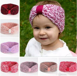 Wholesale Toddler Knitted Headband - Infant Baby Girls Knit Headbands Toddler Knotted Crochet Hairbands 2017 Newborn Kids Girls Winter Hair accessories