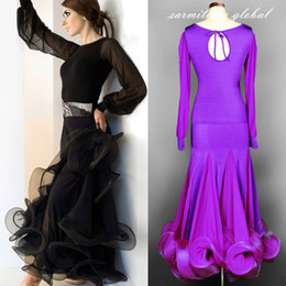 Wholesale Spandex Mesh Dress - 7 Colors Shirt with Skirt 2pcs Set Long Sleeve Tailored Women Dresses for Ballroom Dancing Tango Waltz Ballroom Dance Competition Dresses