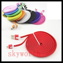 Wholesale 2m Color Usb Noodle - Noodle Braided Micro USB Cable Sync Data Charging 1m 2m 3m Cord Flat Woven Fabric for Samsung Galaxy S6 Note 5 HTC