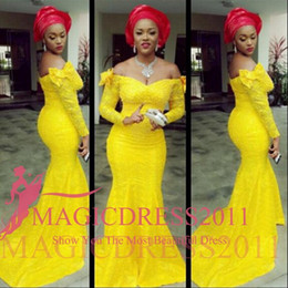Wholesale Red Carpet Wedding Dresses - Charming Evening Dresses 2016 Mermaid Nigeria Aso Ebi Styles Fashion Luxury Arabic Off-Shoulder Plus Size Yellow Wedding Party Mother Gowns