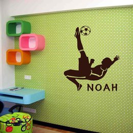 Wholesale boys wall art stickers - Free Shipping Customer-made Personalised football sport wall mural vinyl decal art for boys rooms wall sticker home decoration