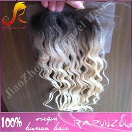 Wholesale Light Brown Wig Closures - Hot sale top quality Ombre Blonde #1B 613brazilian hair deep wave remy hair Lace Closure Free Part 4x4 full lace Closure