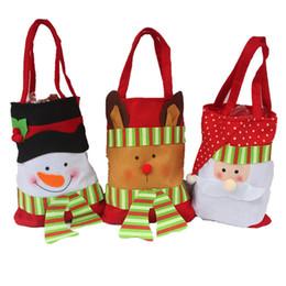 dulces de manzana Rebajas 2016 Decoración de Navidad Bolsas de Dulces Santa Feliz Navidad Regalo Dulces Dulces Bolsas de Regalo Bolsas de Regalo Envoltura de regalos de santa saco no tejido cordón regalo