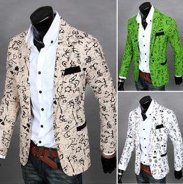 Wholesale L Men Model Hot - Free shipping hot men flower blazer slim fit blazer for men Wholesale fashion hot models men a buckle leisure suit X6636F