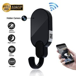 Wholesale Spy Remote Hook - Mini CAM WIFI Hidden Spy Camera Clothes Hook 1080P HD Motion Detection Security Camera Surveillance Camcorder P2P Android iPhone Remote View