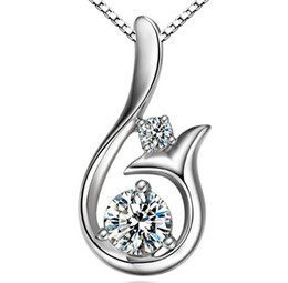 Wholesale Wholesale Charm Necklaces - Top Grade Diamond Pendant Necklace Cubic Zircon 30% 925 sterling silver Little Mermaid Pendant necklace For Wedding Party Women Jewelry