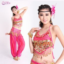 e25396ed90 2019 New Indian Belly Dance Dress Performance Costumes Peppers Sequined  Stage Wear with Waist Chains 3 Pieces Suit A0325