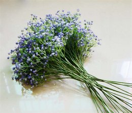 Wholesale Silk Material Flowers - Fake Flower White All Over The Sky Star PU Material Simulation Gypsophila Silk Flower Party Wedding Home Décor BabysBreath Artificial Flower