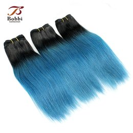 Wholesale Style Roots - Dark Root T 1B Blue Straight Ombre Human Hair Weave Body Wave 10-18 inch Short Bob Style Colored Brazilian Virgin Hair Extensions
