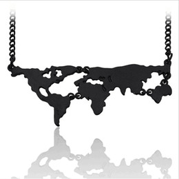 Wholesale big world map - Wholesale trendy Jewelry black Gold Silver Plated Alloy Punk Statement girl big world map Pendant Necklace For Women 2017 Hot x419