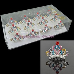 Wholesale Colorful Crystal Comb - 12pcs lot Mini Colorful Crystal Rhinestone Alloy Princess Tiaras Crown Hair Comb 5 Teeth Combs Wedding Hair Accessories For Lady Kid Girls