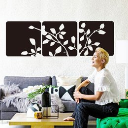 Wholesale Giant Removable Wall Stickers - giant wall art Beautiful tree leaves Wall sticker Vinyl Square Flowers Wall decals Modern Plane home decor for living room bedroom