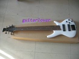 Wholesale Electric Guitar White Maple Neck - new Special 6 string electric bass guitar with solid flame maple neck though body black hardware in nature