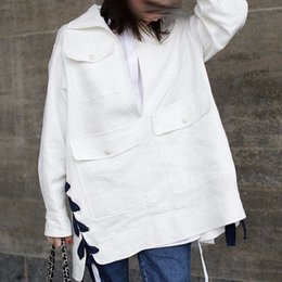 Wholesale Windbreaker Button Down - Autumn Loose Women's Windbreaker 2018 Fashion Casual Lace Up Solid Color Turn-down Collar Button Trench Coat