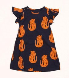 Wholesale Childrens Clothes Free Shipping - Free UPS Fedex Ship Mini rodini Kids girls dress baby clothes Animal Tiger cartoon Fly sleeve summer childrens dresses 2016 meisjes kleding