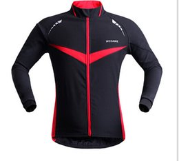 Wholesale Cycling Clothing Winter Jacket - WOSAWE Winter Autumn Windproof Cycling jacket Long Sleeve Cycling Jersey Clothing Wear Reflective Running Bike Jackets FREE SHIPPING