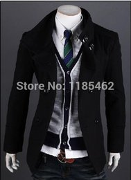 Wholesale Cheap Woolen Winter Coats - Fall-New 2015 Men Trench Coat Double-breasted Outwear Cheap Winter Outwear Long Coat Woolen Coat clothing for men wholesale cheap