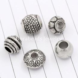 Wholesale European Beads Spacers - 50PCs Mixed Antique Silver Acrylic Beads Spacers Beads Fit European Charm (B03266), 8seasons