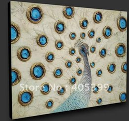 Wholesale Large Peacock Wall Art - Free Shippig !! Modern Decorated Textured Peacock Art Oil Painting ,Large Wall Art ,Top Home Decor P002