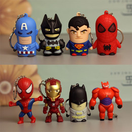 Wholesale batman pvc - NEW LED superhero Batman superman Keychain pendant accessories spiderman Iron man luminous with sound action figures key chain