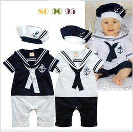 Wholesale Sailor Boy Autumn - Baby Boys Navy Sailor Style Rompers Toddler Baby Navy Costume Short Sleeve Stripe Romper Jumpsuit With Hat Infants Babies One-Piece Bodysuit