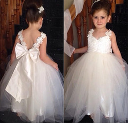 Wholesale White Feathers For Sale - 2015 Hot Sale Spaghetti Bow Little Girls Pageant Floor-Length Lace Princess Flower Girl Dresses For Weddings Girls Dresses Special Occasion