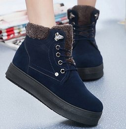 Wholesale Motorcycle Martin Platform Snow Boots - Winter Boots For Female Keep Thicken Warm Women Snow Boots Genuine Leather Vamp Lace-Up Fashion Womens Platform Boots Retail H849