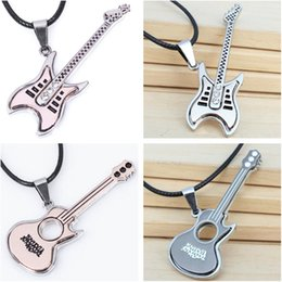 stainless steel guitar slide Coupons - Fashion Titanium Steel Guitar Pendant Necklaces Rock Style Crystal Guitar Necklace Leather Rope Clavicle Charm Necklace for Men Women