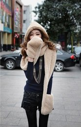 Wholesale Korean Wool Gloves - Wholesale-Lowest Price 2015 Korean women new autumn winter scarf lovely double-thick wool scarves with hats gloves three one free shipping