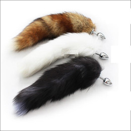 Wholesale Long Anal Tail Plug - 35cm long Fox Tail Anal Plug Metal Butt Plug Anal Sex Toy 7cm 8cm 9cm plug for choice