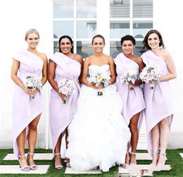 Wholesale High Low One Shoulder Dresses - Newest High Low Bridesmaid Dresses Summer Satin Ruched Maid Of Honor Bridesmaid Gowns Wedding Guest Formal Evening Dresses