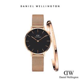 Wholesale Watches Ladies Black - Luxury Brand Wellington Watches 32mm Women Quartz Watch Gold Silver Design Daniel Ladies Watches With Bracelet Relogio Montre Femme