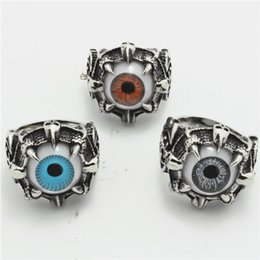 Wholesale Eyeball Rings - Free Shipping Ghost Claw Eyeball Cool Ring 316L Stainless Steel Man Boy Fashion Jewelry Punk Biker Huge Noble Ring