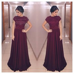 Wholesale Lighted Fall Decorations - New Party Dress Pearls Beading Decoration Key Hole Back Long Prom Dress with Short Sleeves Burgundy Elegant Dress