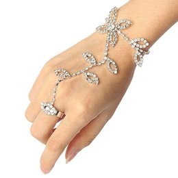 Wholesale Harness For Women - Wholesale-2016 New Fashion Jewelry Rhinestone Bracelet Leaf Flower Hand Harness Slave Chain Link Finger Silver Bracelets For Women