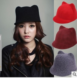Wholesale Duck Ear Cap - Wholesale-Autumn and winter Korean pure wool cat ears duck tongue Hat Girl Adult Women's Cap Hat