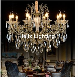 Wholesale Bronze Art Deco Lamps - Free Shipping Bronze Finished Antique Crystal Chandelier Lingting Luxurious AC LED Brass Crystal Lamp Lustre Suspension Lighting